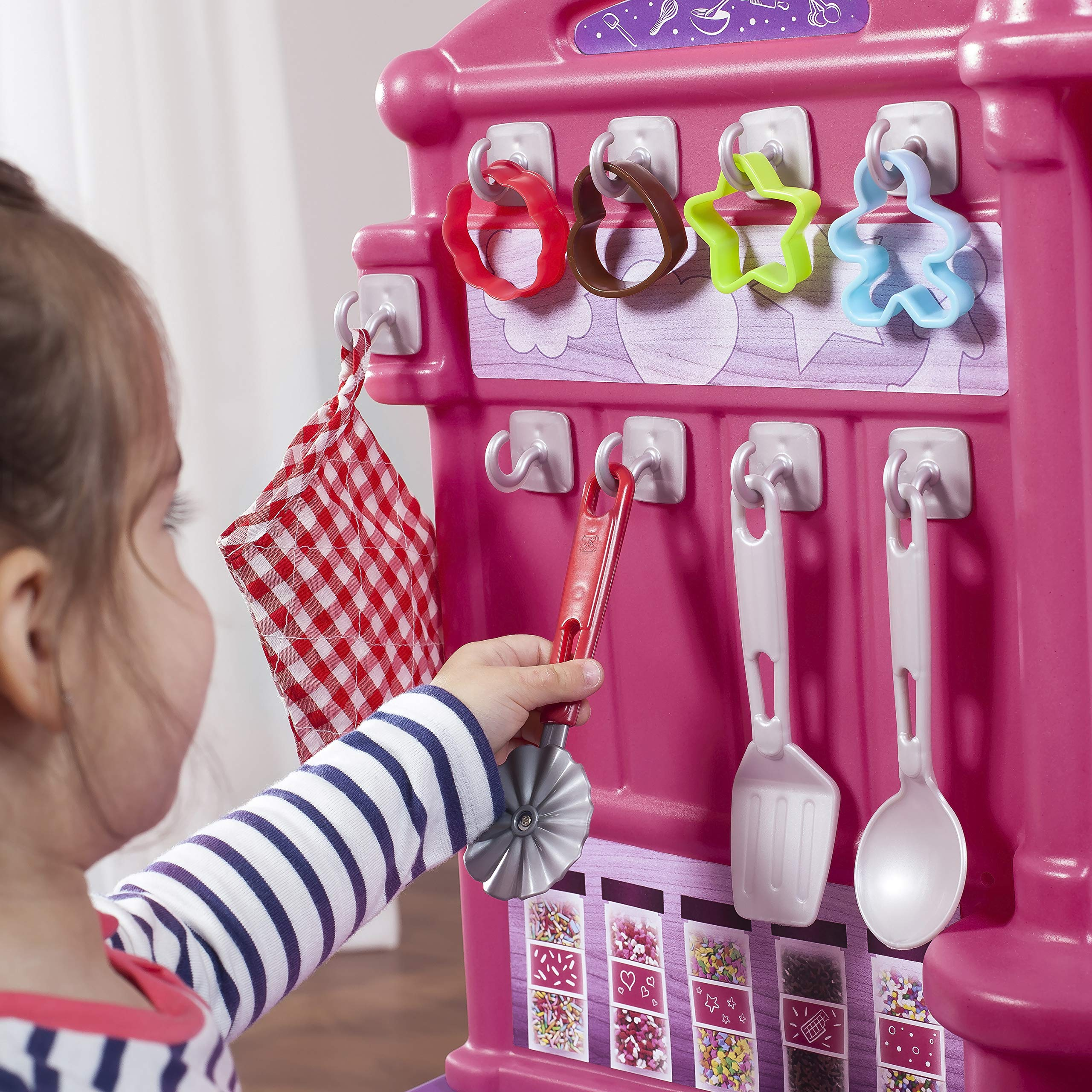 Step2 Create & Bake Play Kitchen with Toy Baking Set, Pink & Purple, 40'' H x 34.25'' W x 12'' D by Step2 (Image #5)