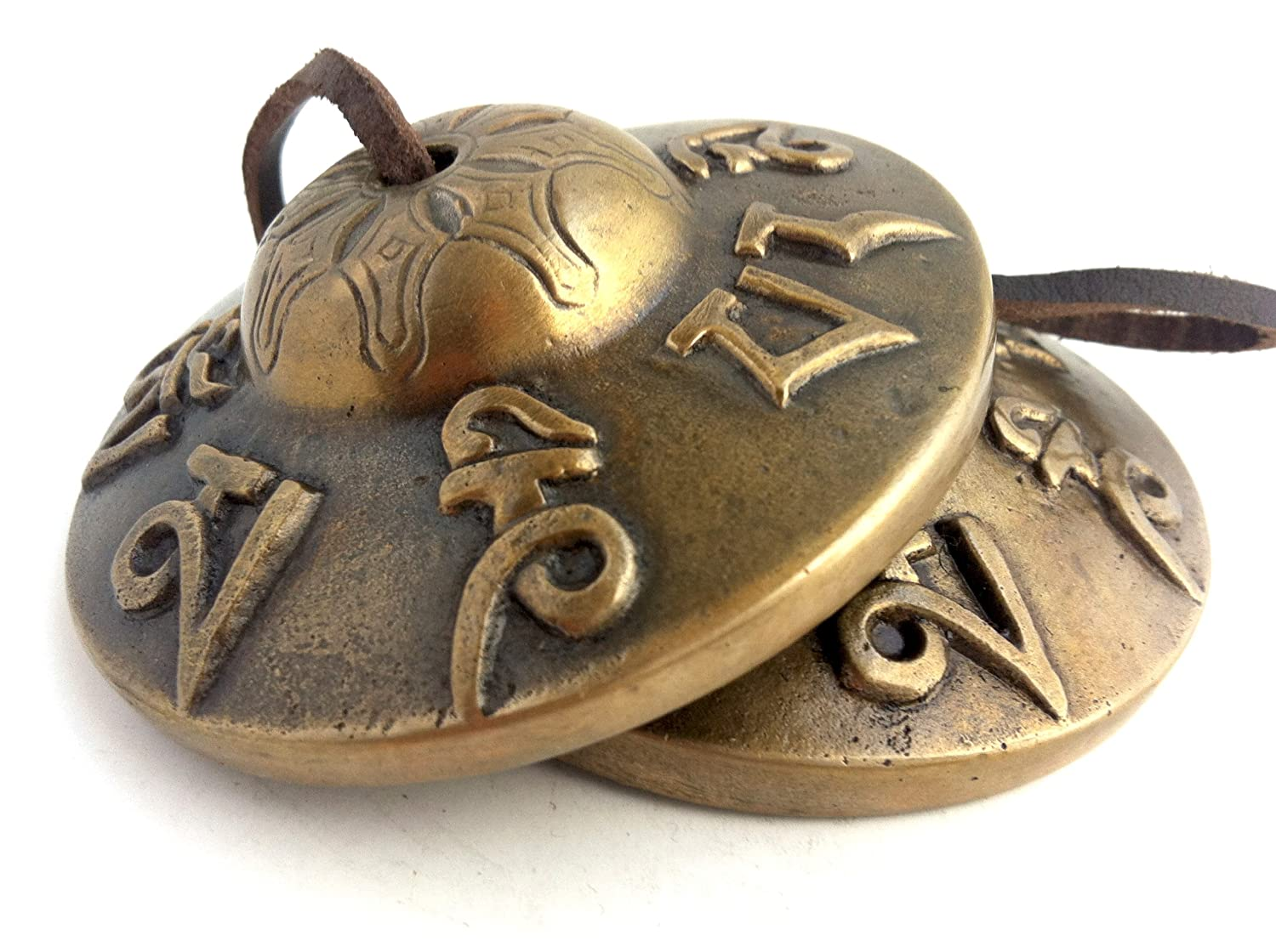 """Tibetan Tingsha Cymbals ~ 3 inches-""""Om Mane Padme Hum"""" Symbols Embossed~Hand Tuned Meditation Tibetan Bell ~ Traditional Percussion Instrument for folk devotional music~Handmade in Nepal"""