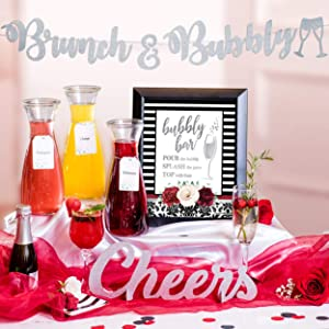 Elegant Mimosa Bubbly Bar Kit - Black and White Champagne Brunch Decorations for Birthday Galentine's Day Bridal Brunch Baby Shower Supplies Red Wine Women Adult Games, Silver Bubble Banner Sign (Red)