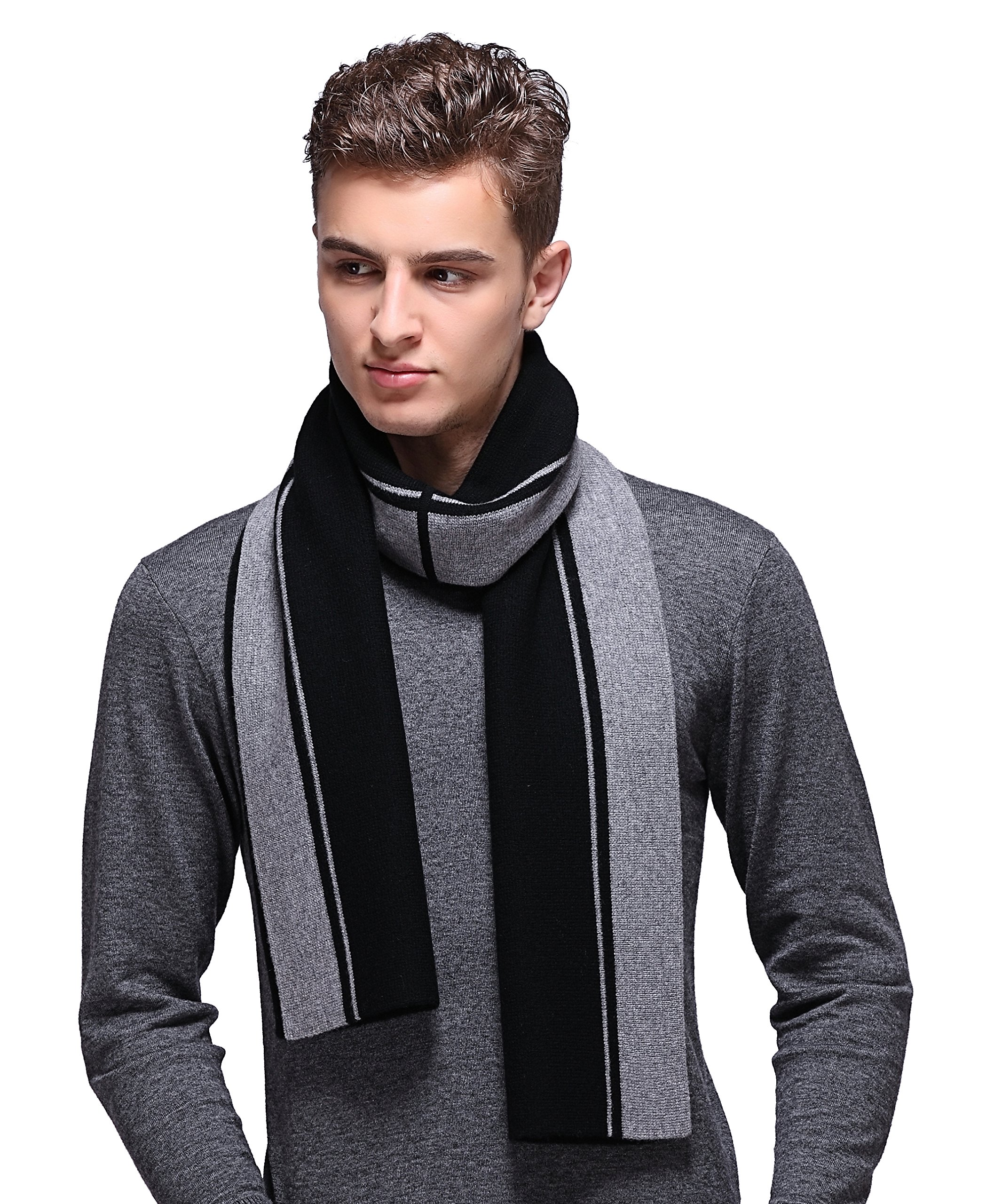 Ellettee, Stripe BlackGrey 100% Australian Wool Men Scarf Classic Premium Luxurious Knitted Long Neckwear Elegant Stripe Plaid Scarves