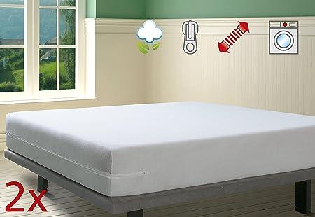 SAVEL - Funda de colchón elástica de Algodón | Pack de 2-90x190/200cm | Protector de colchón con Cremallera. Tejido de Rizo 100% Algodon Muy Absorbente y Ajustable (Cama 90cm): Amazon.es: Hogar