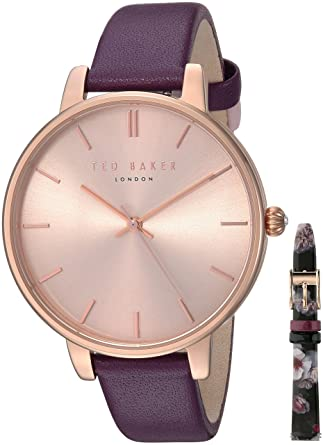 9e80091e35e Amazon.com  Ted Baker Women s Kate Stainless Steel Quartz Watch with Leather  Strap