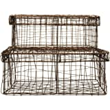 Creative Co-Op Set of Wire Baskets with Lid