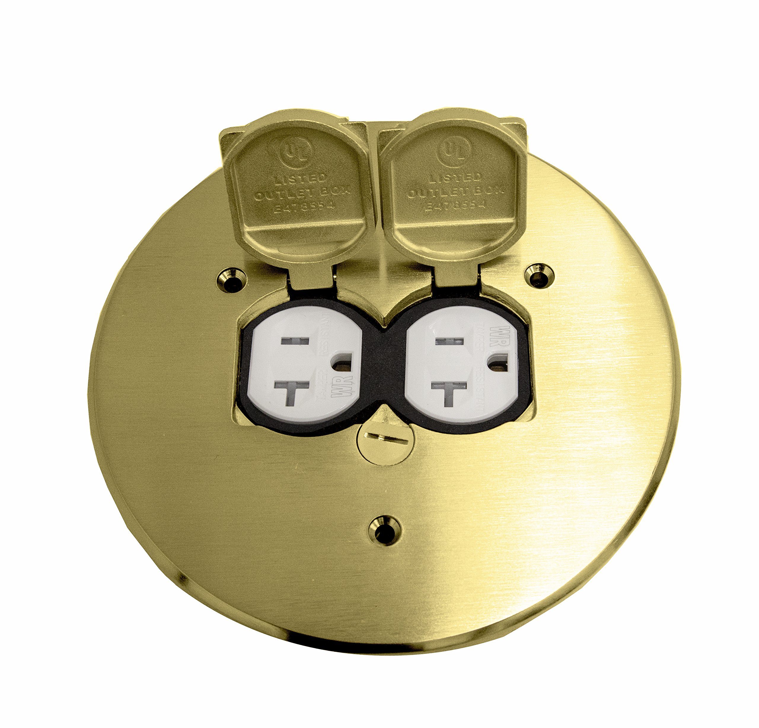 Enerlites 975517-C 5.75'' Brass Dual Flip Lid Cover by Electrical Floor Box Lid, 20A Duplex Tamper-Weather Resistant Outlet, UL Listed