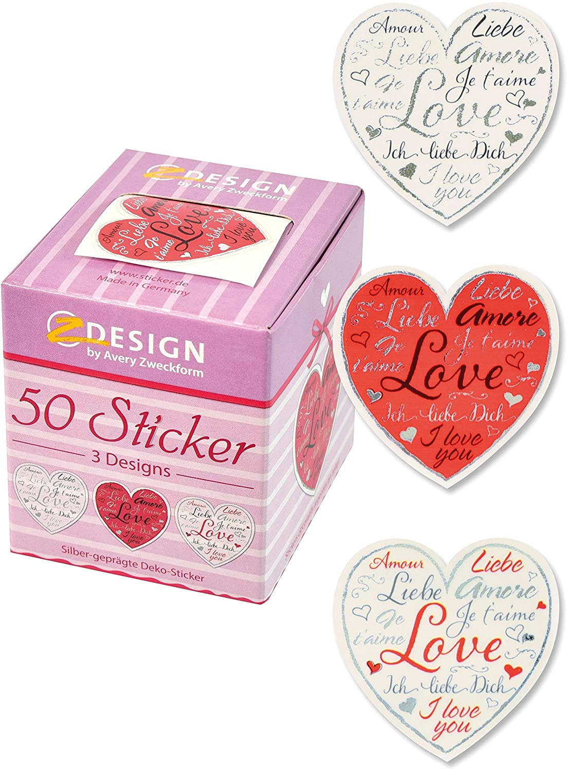 Avery 38 mm 56813 Transparent Love Heart Shaped Favour Stickers ...