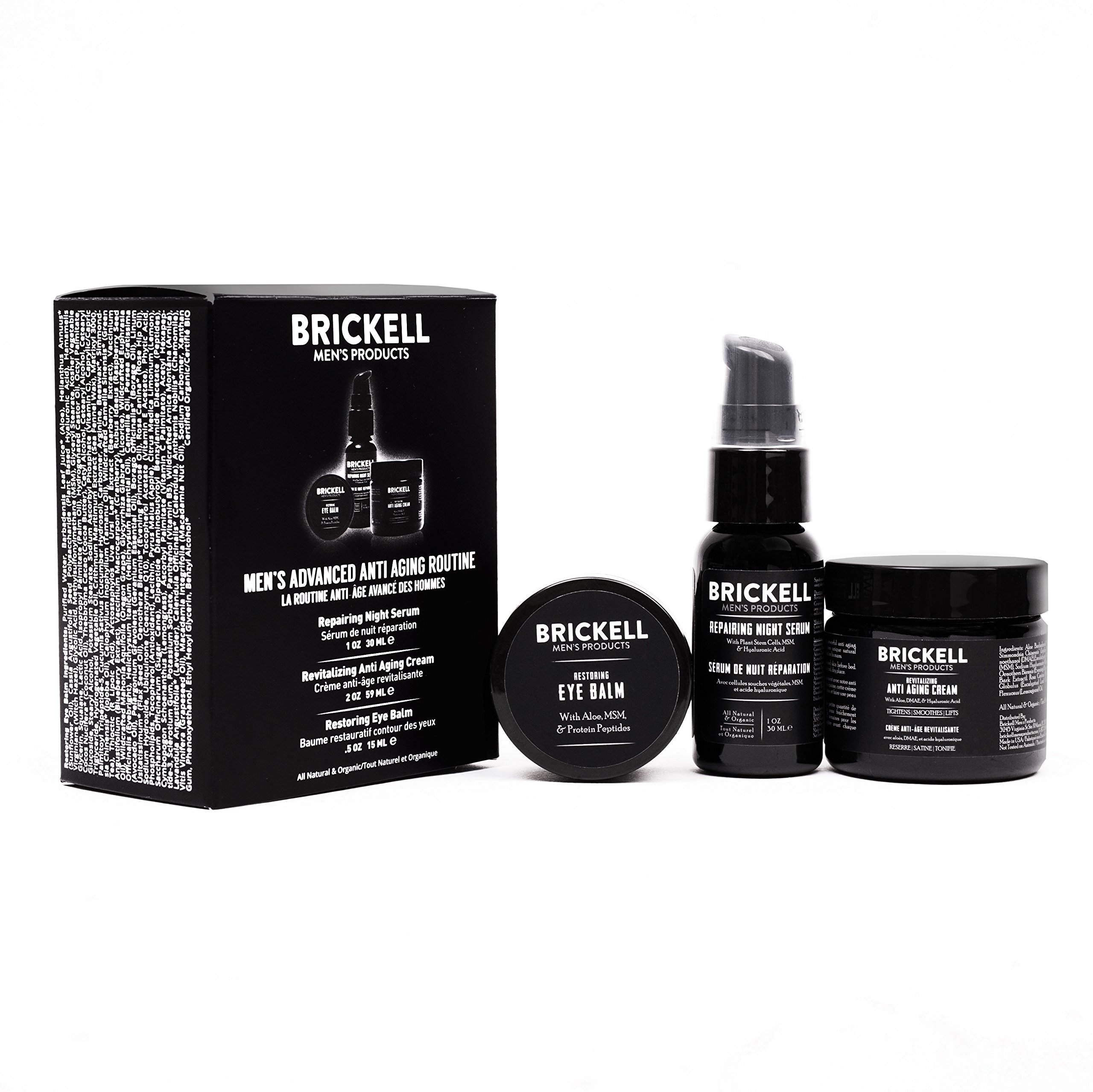 Brickell Men's Advanced Anti-Aging Routine - Night Face Cream, Vitamin C Facial Serum and Eye Cream - Natural & Organic