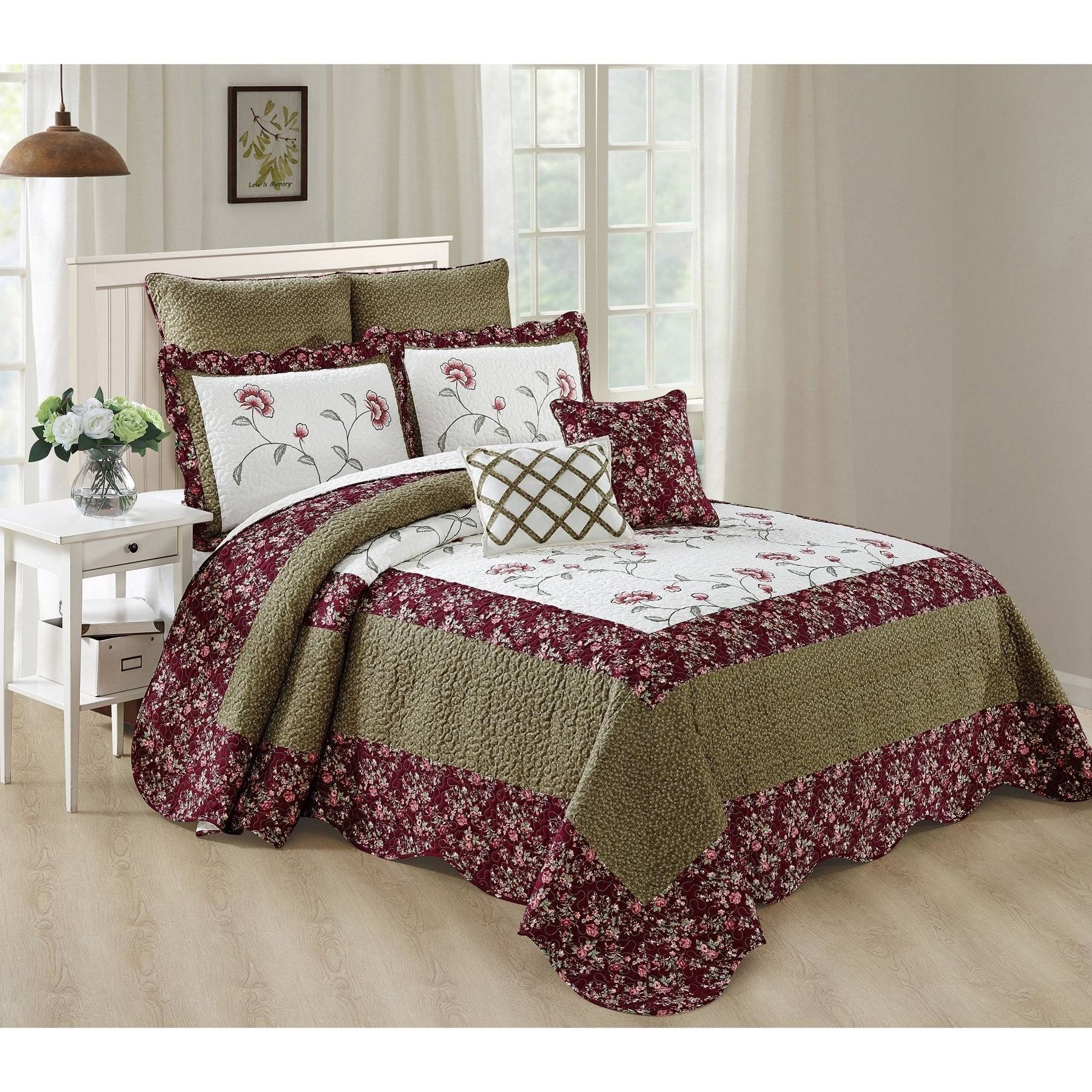 7 Piece Plum Green White King Bedspread Set, Floral Pattern Themed Bedding Flower Garden Antique Vintage Stylish Boho Bohemian Shabby Chic Country Scalloped, Polyester