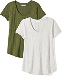 Daily Ritual Women's Lived-in Cotton Slub Short-Sleeve Scoop Neck T-Shirt, 2-Pack, Cypress Green/Light Heather Grey, X-Small
