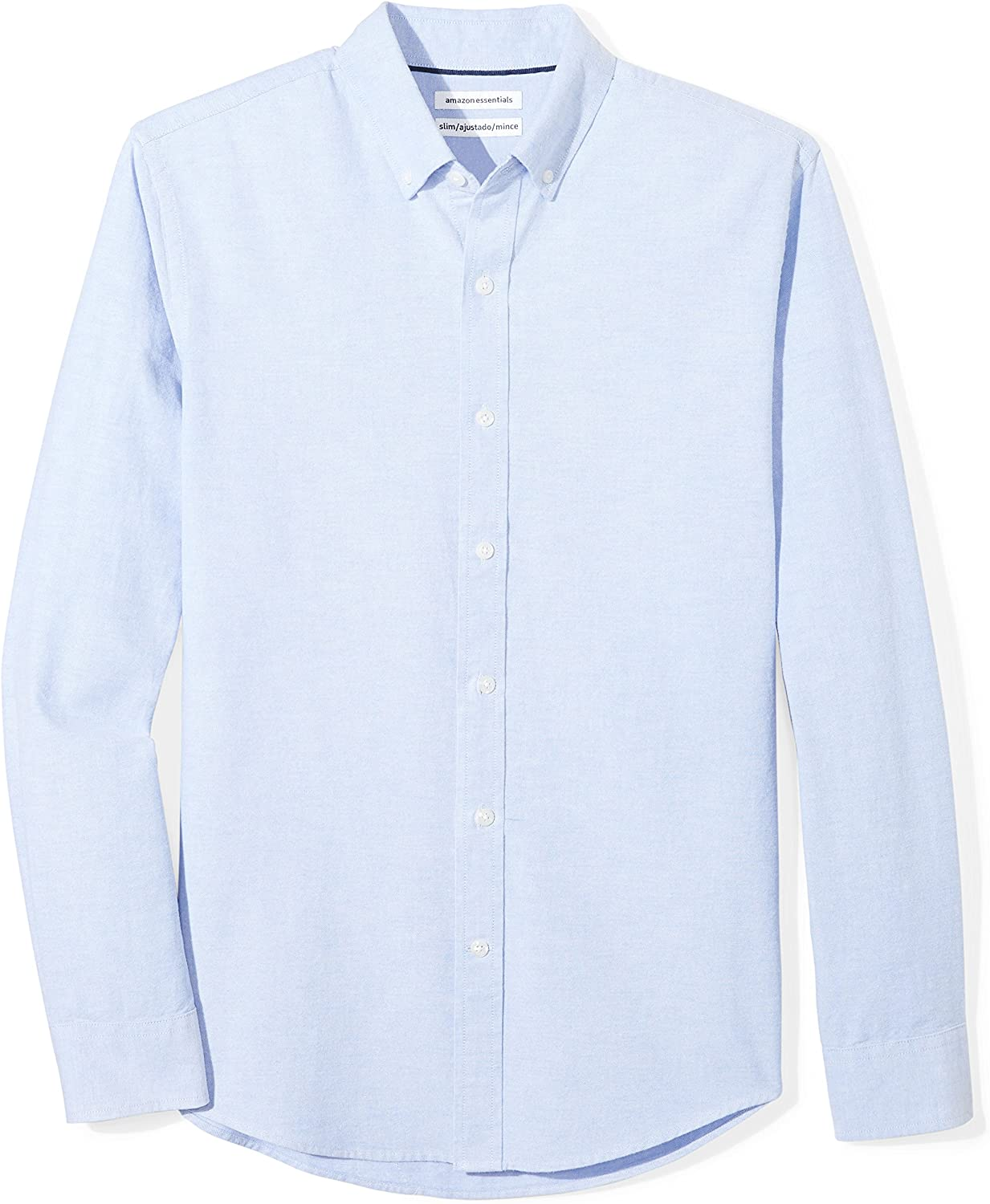 Essentials Men's Slim-fit Long-Sleeve Solid Oxford Shirt: Clothing