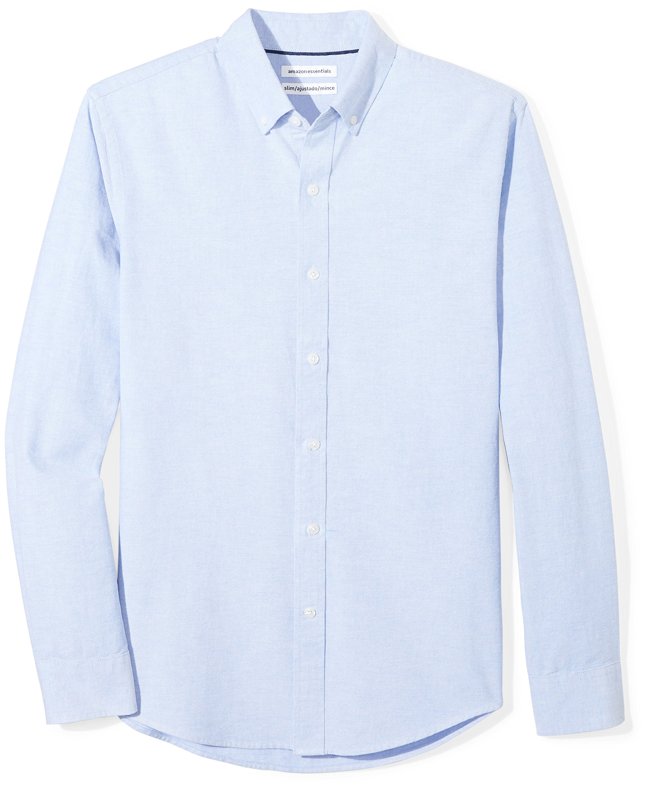 Amazon Essentials Men's Slim-Fit Long-Sleeve Solid Oxford Shirt, Blue, Large