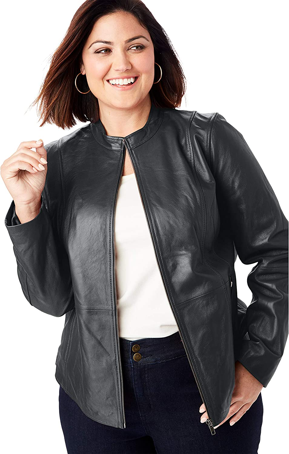 16 W Black Jessica London Womens Plus Size Zip Front Leather Jacket