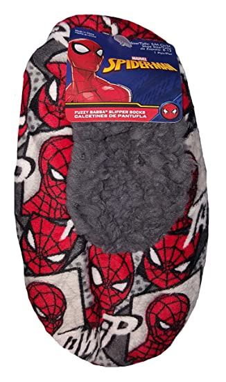 Marvel Comics Spider-Man Gray Slipper Socks - M/L