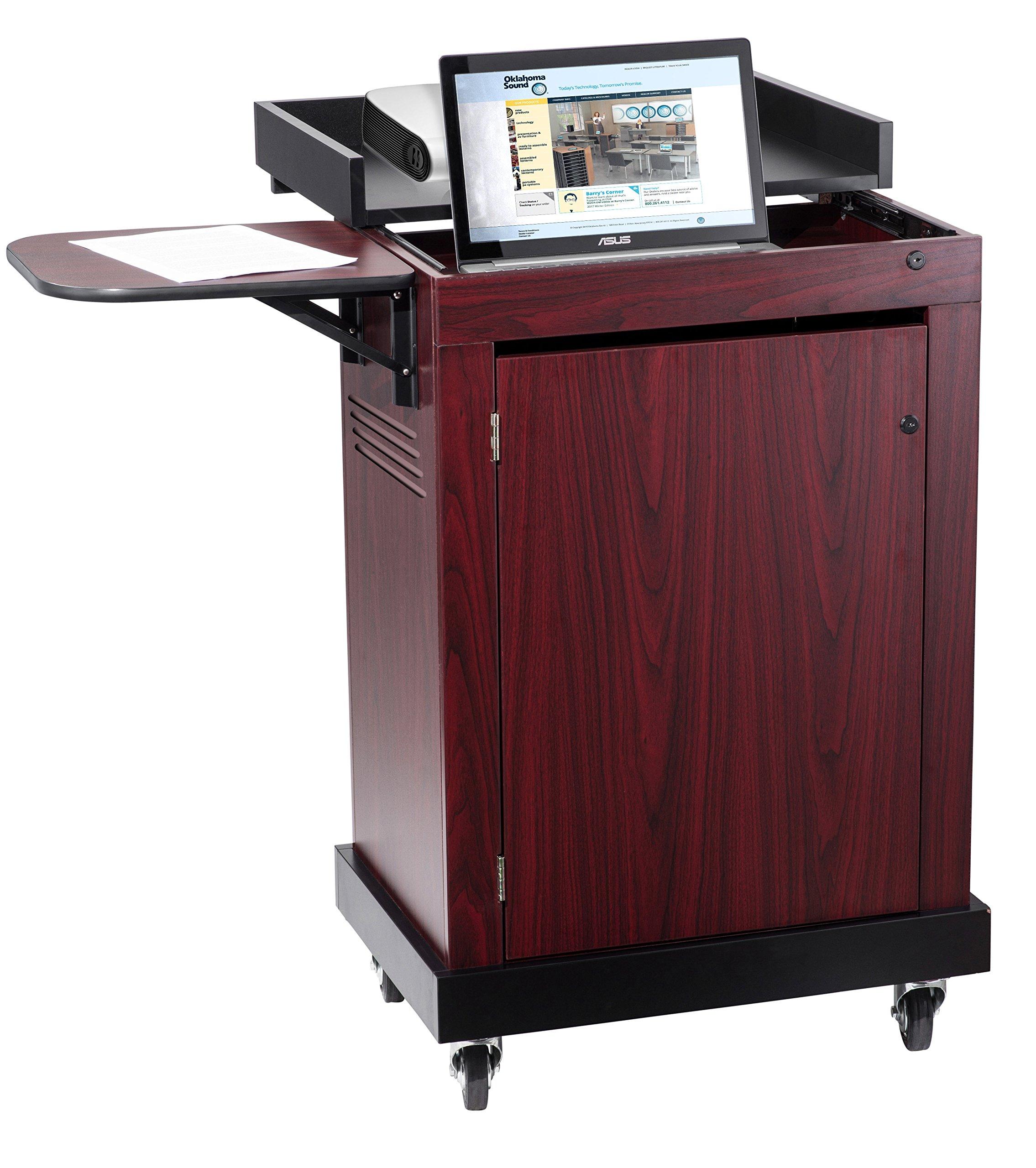 Oklahoma Sound SCL-MY Smart Cart Lectern, 28'' Width x 41'' Height x 21'' Depth, Mahogany
