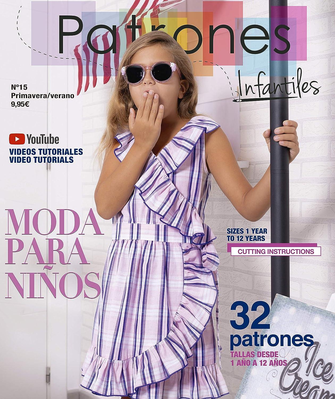 Revista Patrones Infantiles nº 15. Moda Primavera-Verano. 32 modelos de patrones niña, niño, con tutoriales paso a paso en vídeo (Youtube).