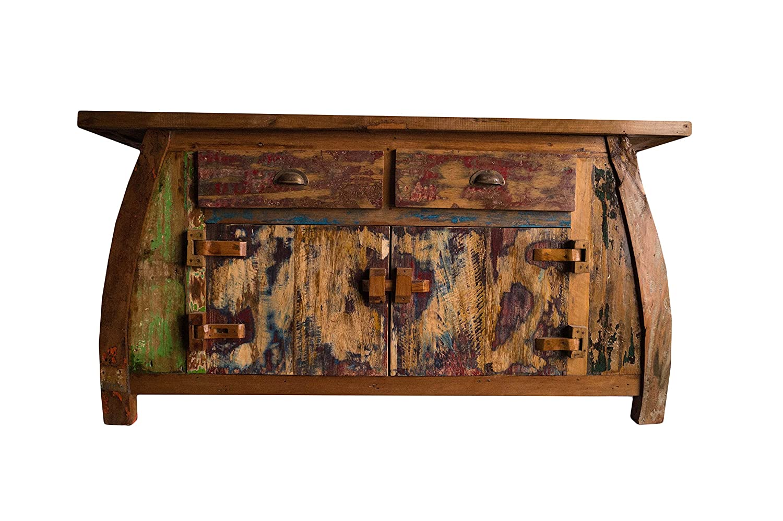 (K15)Vintage Teak gebogene Kommode, Kabinett, Sideboard, Schrank, Shabby, Antik Retro, Chic