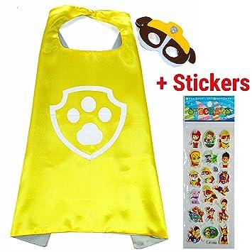 Paw Patrol Rubble Cape y máscara - Super Héroes de disfraces para niños - Disfraz para