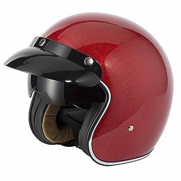Vcan V537 Casco Jet Motocicleta Bicicleta Cascos Abiertos de Moto Candy Red Flake XL(61