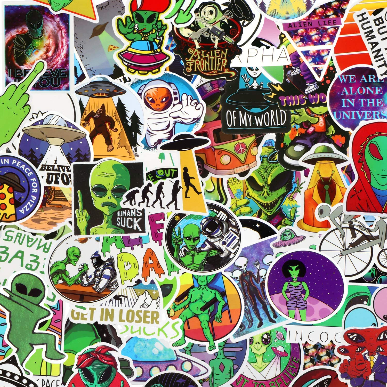 100 Pieces Alien Stickers Water Bottle Laptop Stickers Cool Graffiti UFO Human Sticker Aesthetic Decals for Car, Skateboard, Motorcycle, Phone, Bicycle, Luggage, Guitar, Bike