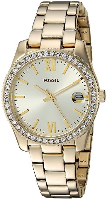 Amazon.com: Fossil Womens Scarlette Mini Quartz Stainless Steel Dress Watch Color: Gold (Model: ES4374): Fossil: Watches