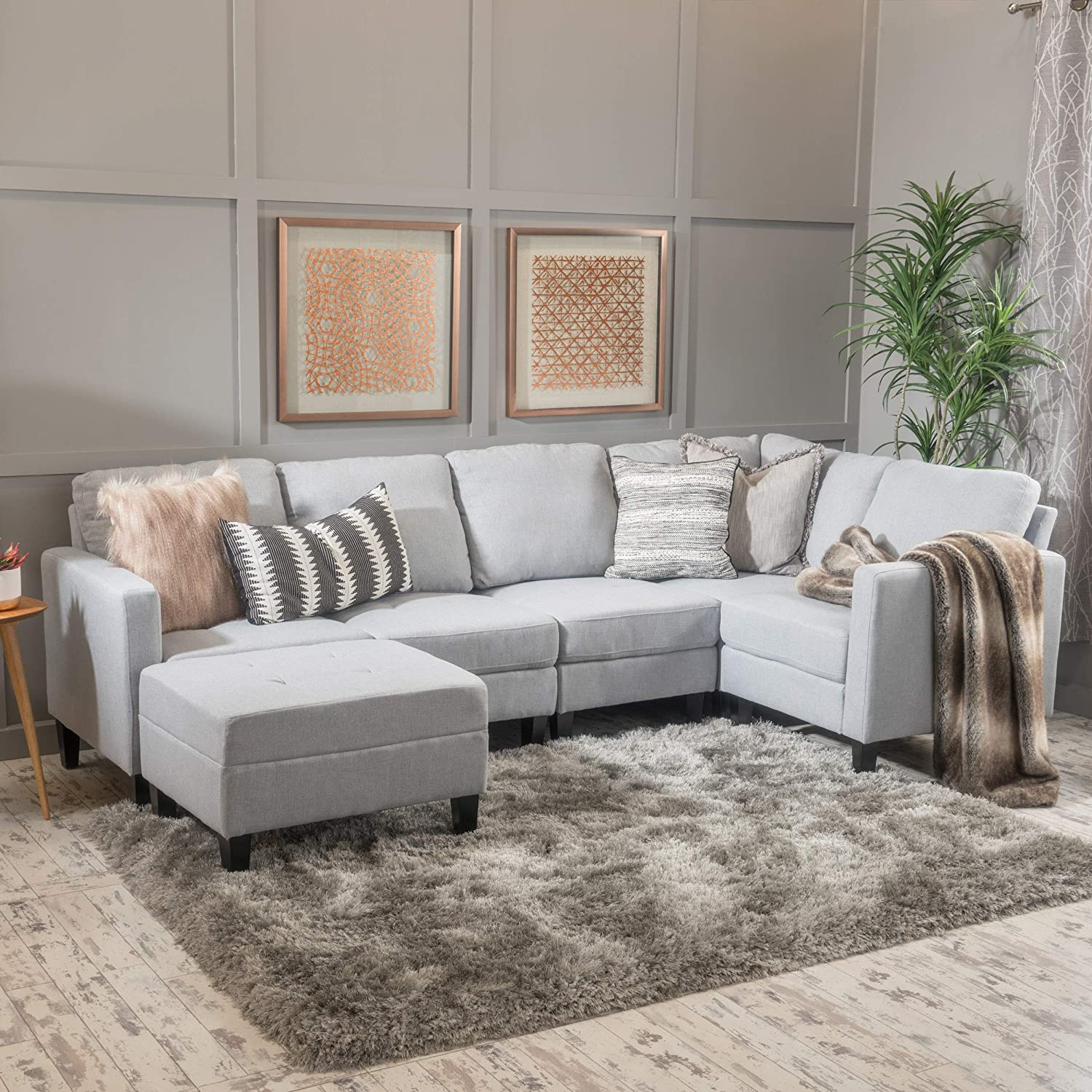 Christopher Knight Home Bridger Light Grey Fabric Sectional Couch with Ottoman