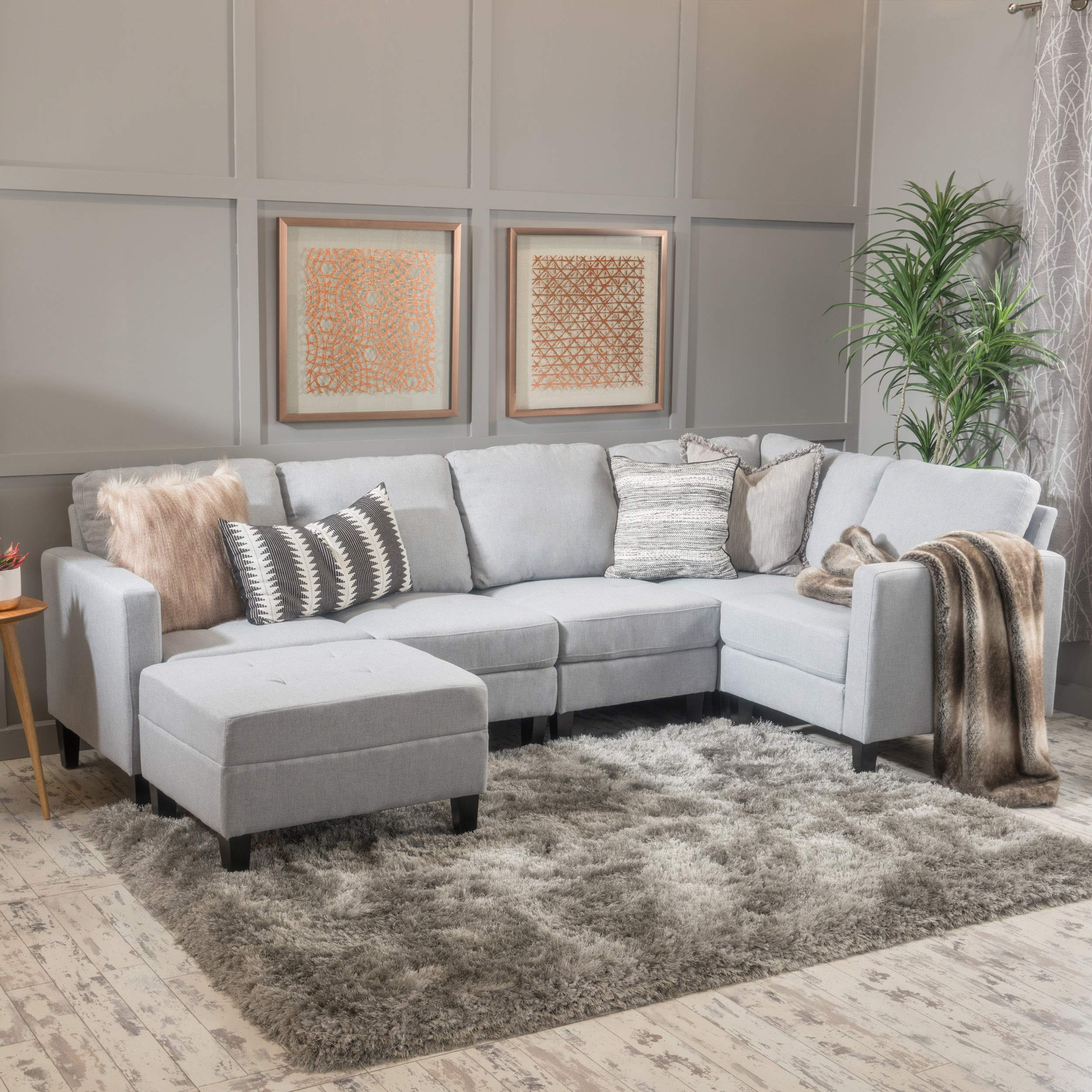 GDF Studio 300128 Bridger Light Grey Fabric Sectional Couch with Ottoman by GDF Studio