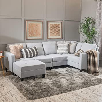 Enjoyable Christopher Knight Home Bridger Light Grey Fabric Sectional Couch With Ottoman Uwap Interior Chair Design Uwaporg