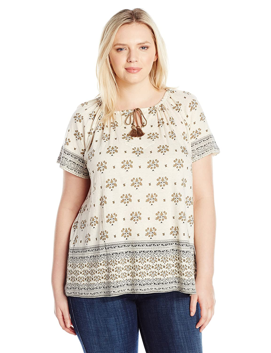 Lucky Brand Womens Plus Size Border Print Top
