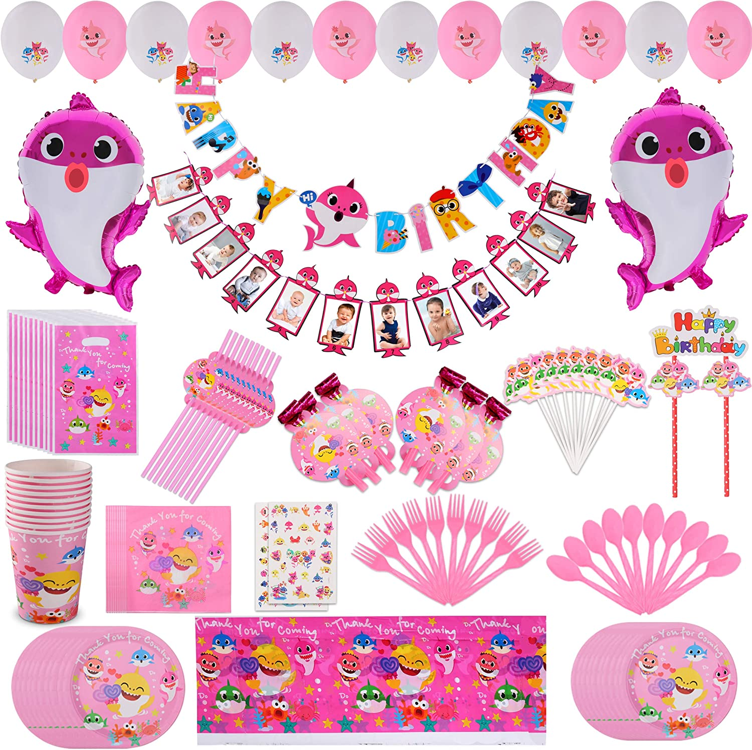 Pink Baby Shark Party Supplies First 1st Birthday for Girl, Shark Baby Birthday Decorations kit - 12 Month Photo Banner Baby Shark Happy Birthday banner for Baby Girls Bday Disposable Tableware Cake Topper Latex balloons Plates Spoon Cups Napkins Straws Shark Temporary Tattoos