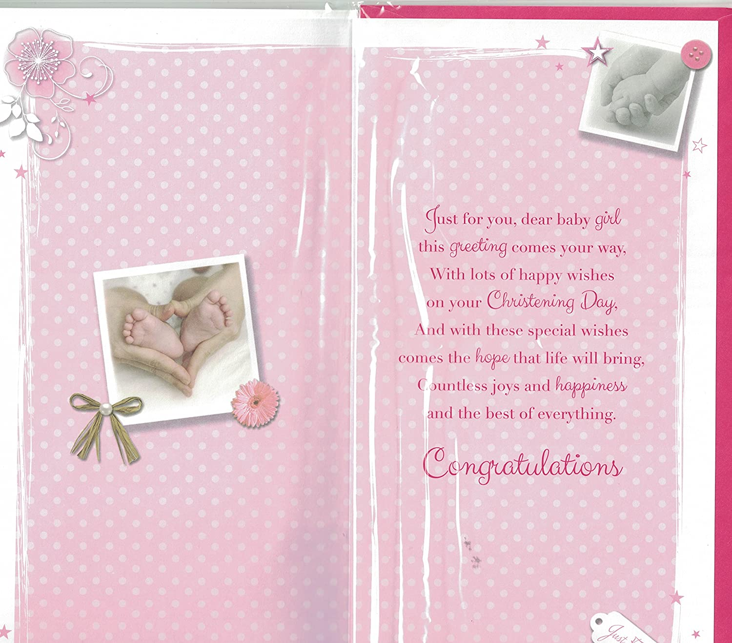 Girls christening card sending special wishes on your girls christening card sending special wishes on your christening day baby feet hands quality slim card amazon toys games kristyandbryce Choice Image