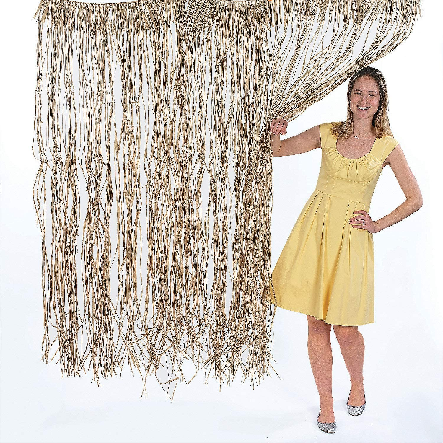 Natural Raffia Door Curtain - 40 inches wide x 5 feet long - Luau and Summer Party Decor