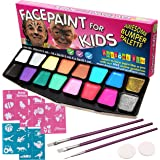 Face Paint Kit for Kids | BIG BUMPER 16-Pack with Make-Up Case. Face Painting Party Set with 3 Professional Brushes, 2 Sponges, 14 Colours, 30 Stencils, Glitter, FREE eBook. Safe Non-Toxic Water-Based