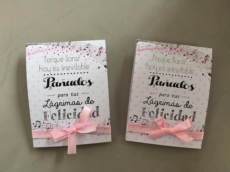 L/ágrimas de Felicidad para Bodas con pa/ñuelo de papel dise/ño de notas musicales en tonos rosas