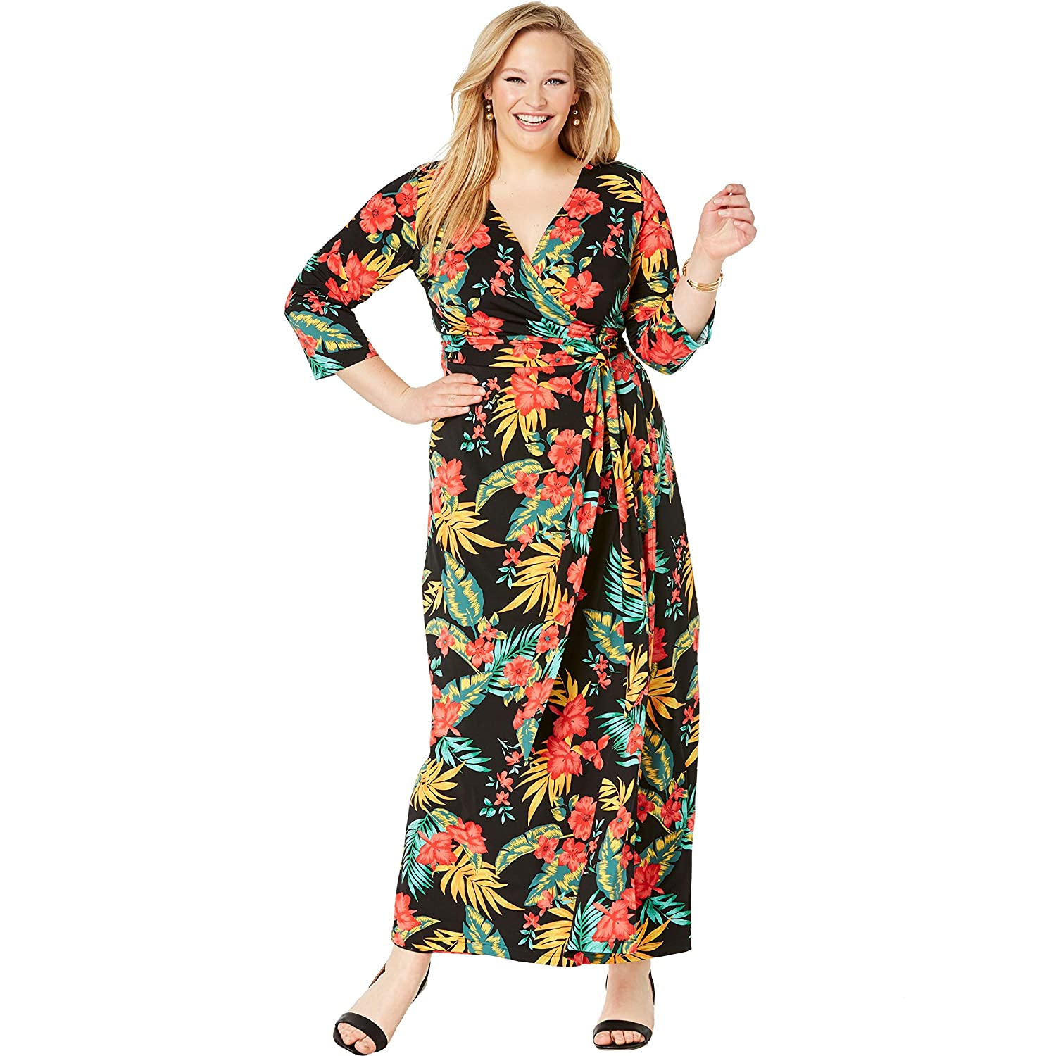 a952a658c6f Jessica London Women s Plus Size Faux Wrap Maxi Dress at Amazon Women s  Clothing store