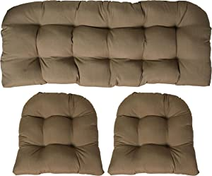 RSH DECOR Sunbrella Canvas Heather Beige Large 3 Piece Wicker Cushion Set - Indoor/Outdoor Wicker Loveseat Settee & 2 Matching Chair Cushions - Tan/Beige