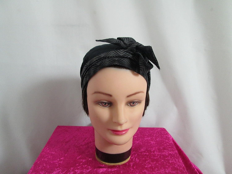Foulard, turban chimio, bandeau pirate au féminin noir à motifs géométrique noir et kaki