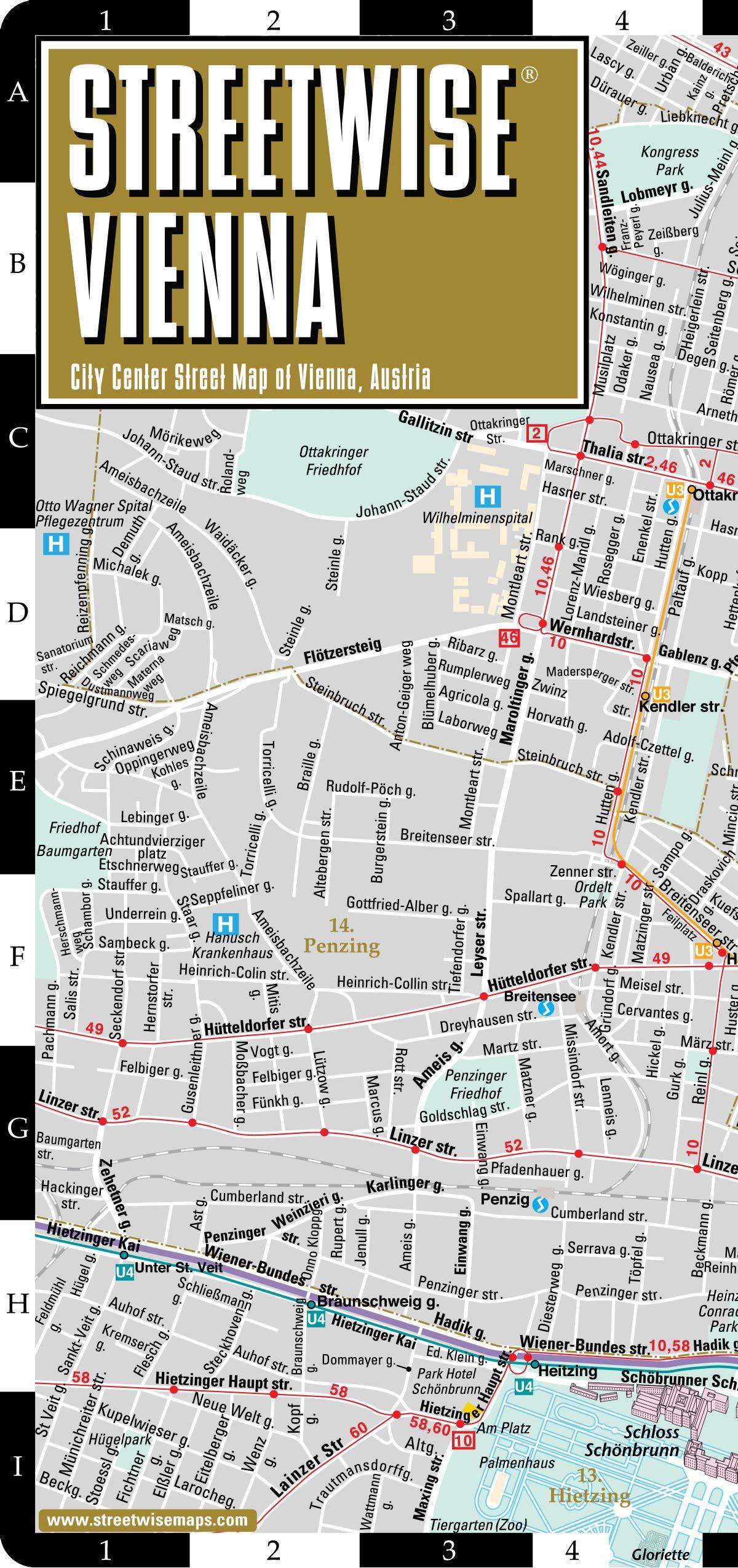 Vienna Austria Map Streetwise Vienna Map   City Center Street Map of Vienna, Austria