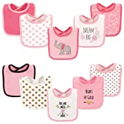 Hudson Baby Drooler Bib, 10 Pack, Elephant and Hearts
