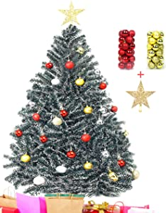 ODUUEO Artificial Christmas Tree with Solid Metal Stand,4,5,6,7ft Premium Hinged Spruce Full Tree with Christmas Ball&Christmas Tree Top Star (Green, 4ft)
