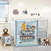 Bedtime Originals Two By Two Noah's Ark 3 Piece Crib Bedding Set, Blue/Gray