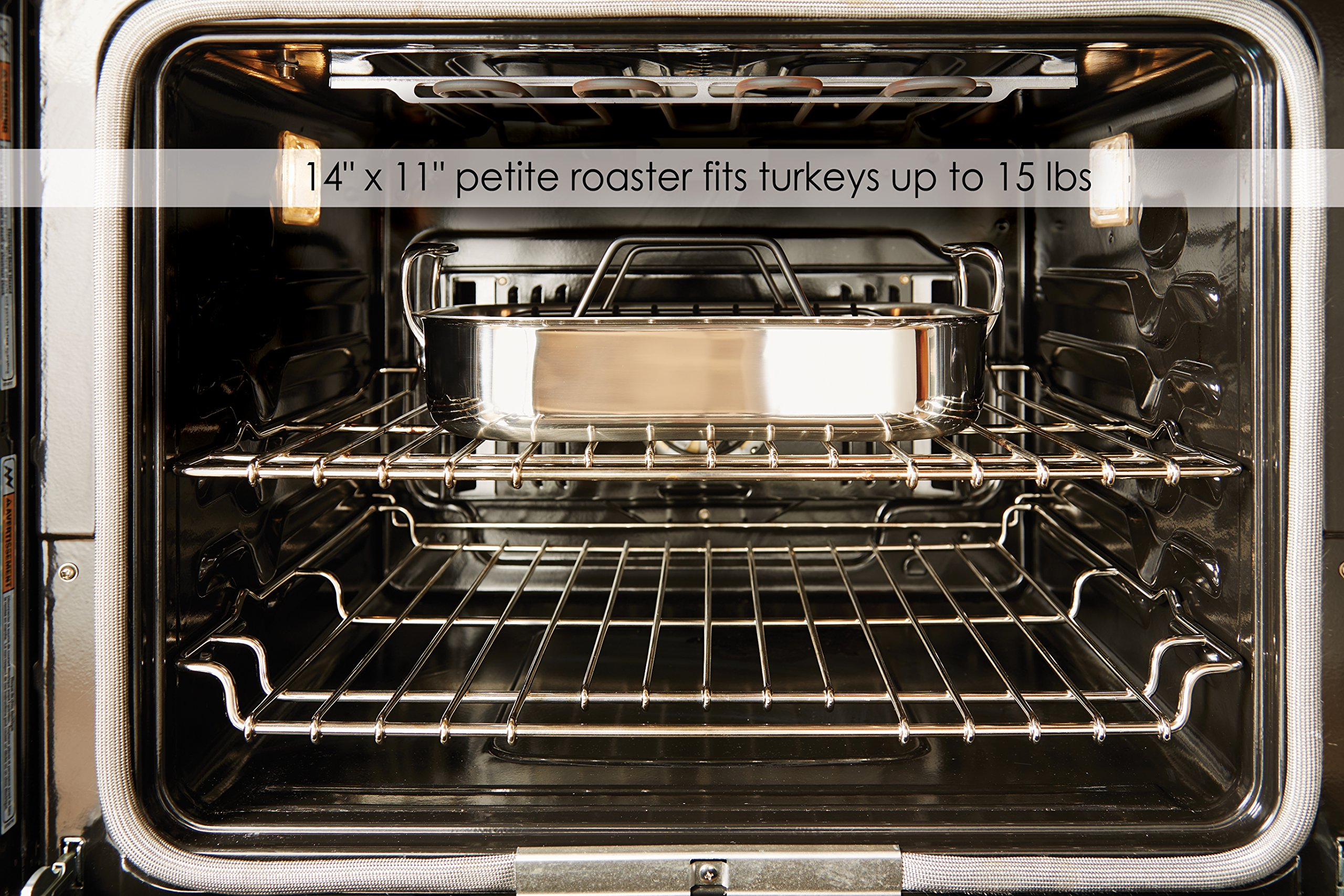 All-Clad E752S264 Stainless Steel Dishwasher Safe Small 11-Inch x 14-Inch Roaster with Nonstick Rack Cookware, 14-Inch, Silver by All-Clad (Image #4)
