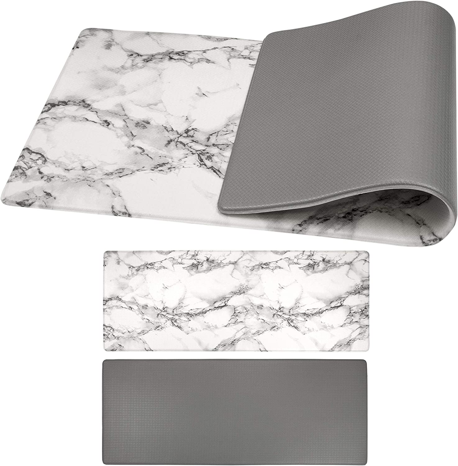 OPUX Anti Fatigue Comfort Floor Mat | Standing Mat for Kitchen Home Office Desk | Reversible Decorative Ergonomically Engineered Rug | Non-Slip Waterproof Easy to Clean | Marble/Gray, 47.2