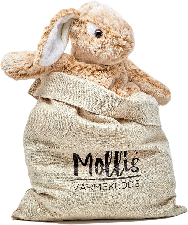 Molli Toys Mollis/® Coussin Chauffant Lapin 33 cm Marron dor/é Coussin Chauffant Micro-ondes D/évelopp/é en Su/ède pour Enfants et Enfants en bas /âge Avec Sac de Rangement