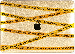 Lex Altern Glitter Case for Apple MacBook Air 13 inch Pro Mac 15 Retina 12 11 2020 2019 2018 2017 Cute Police Line Do Not Cross Pattern Yellow Protective Laptop Cover Bling Design Print Shiny Gold