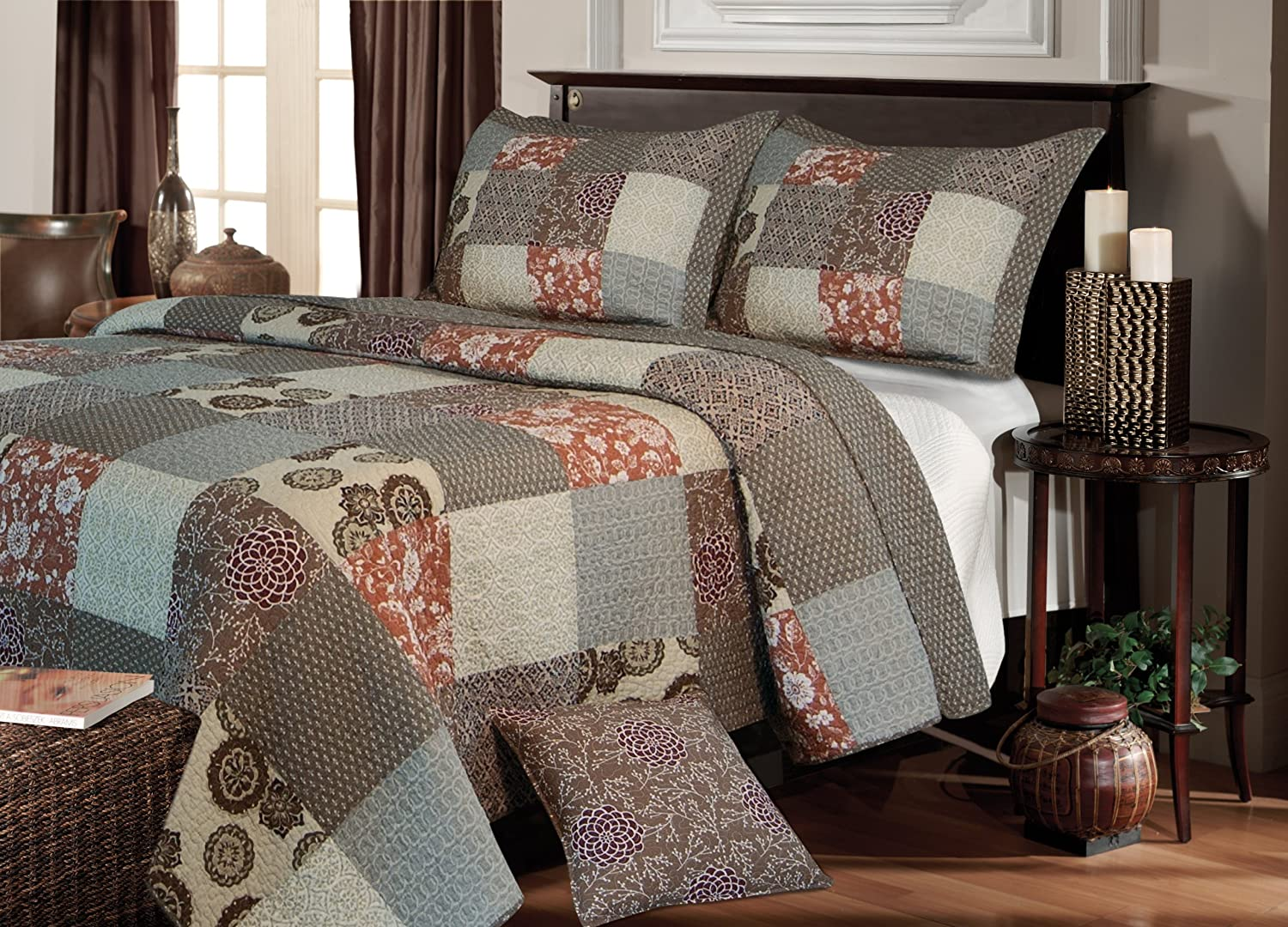 amazoncom greenland home fashions stella quilt set king home u0026 kitchen