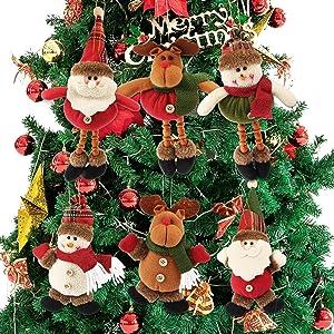 Plush Christmas Ornaments, Dreampark 6 Pack Xmas Hanging Ornaments Decorations Festive Season Pendant - Santa/Snowman/Reindeer Ornaments Plush for Christmas Tree