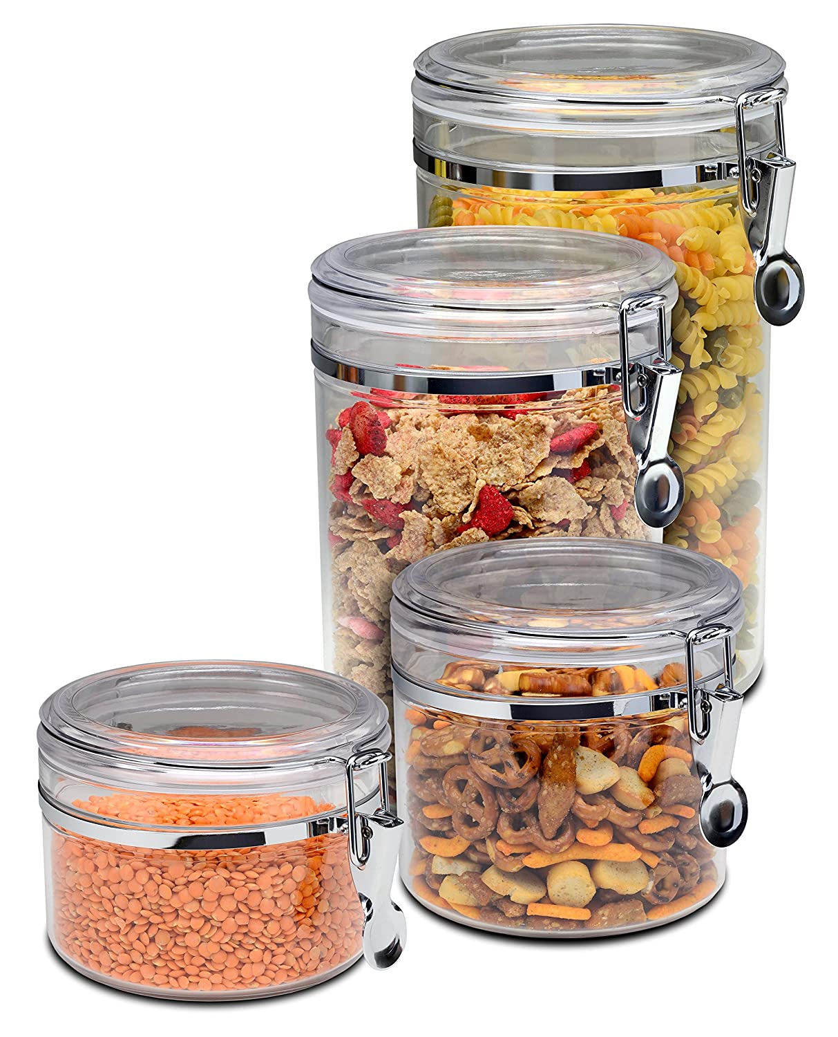 Acrylic Food Storage Containers Part - 38: Amazon.com: Bellemain 4 Piece Airtight Acrylic Canister Set , Food Storage  Container: Kitchen U0026 Dining