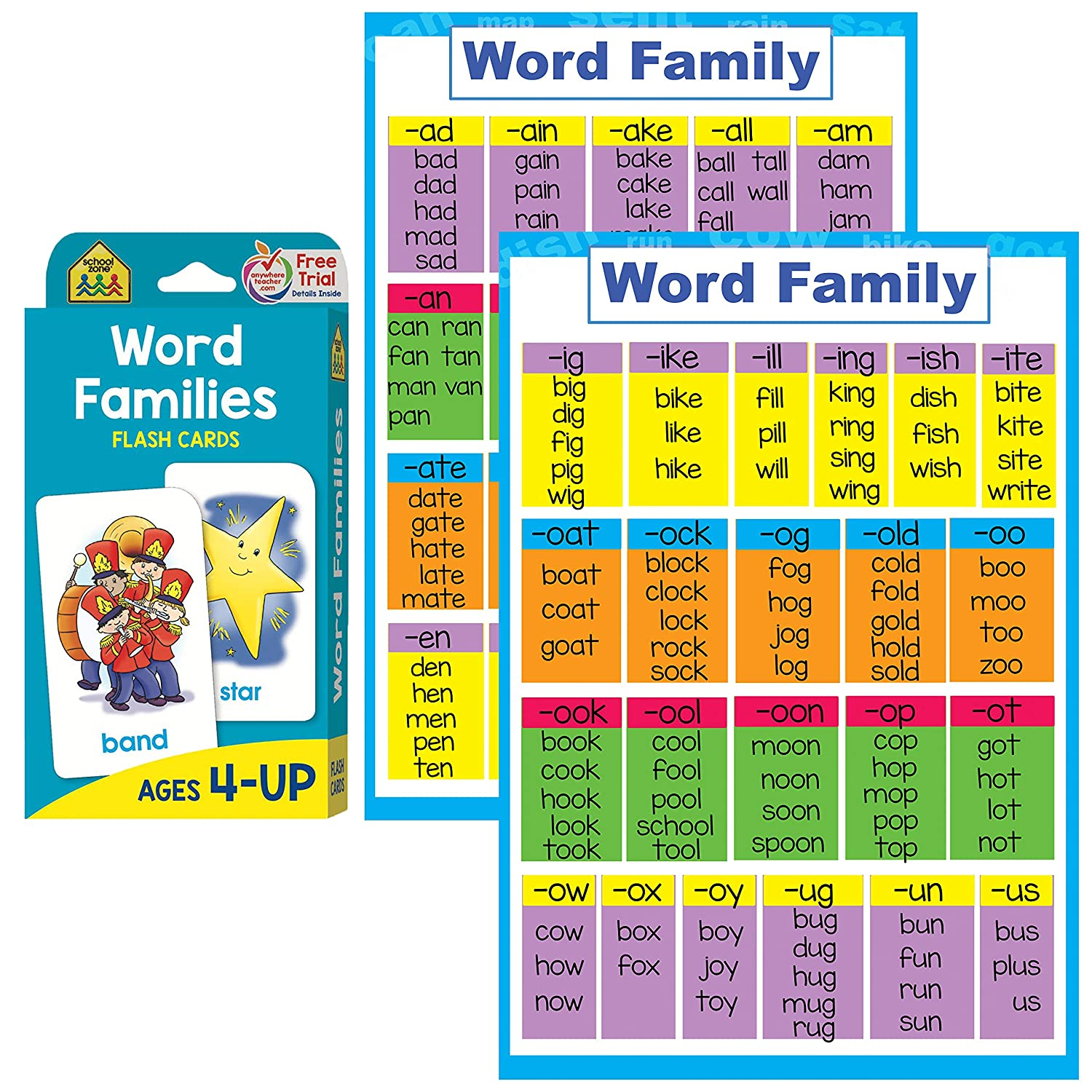 Amazon com : Word Families Poster and Flash Cards Set