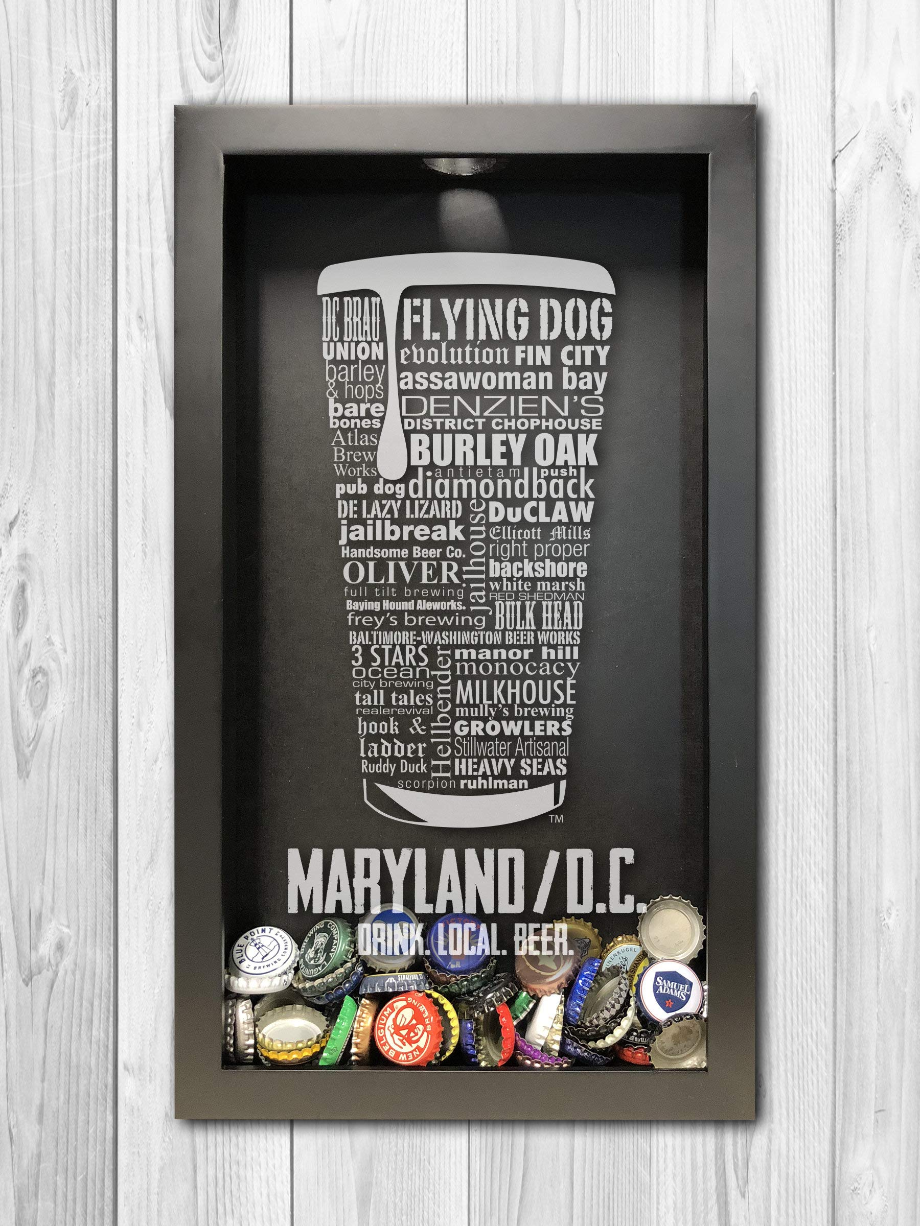 Maryland/DC Craft Beer Typography Bottle Cap Shadow Box, Beer Cap Holder