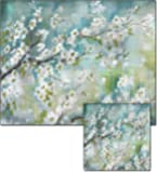 CounterArt Cherry Blossom Glass Cutting Board and Trivet Set