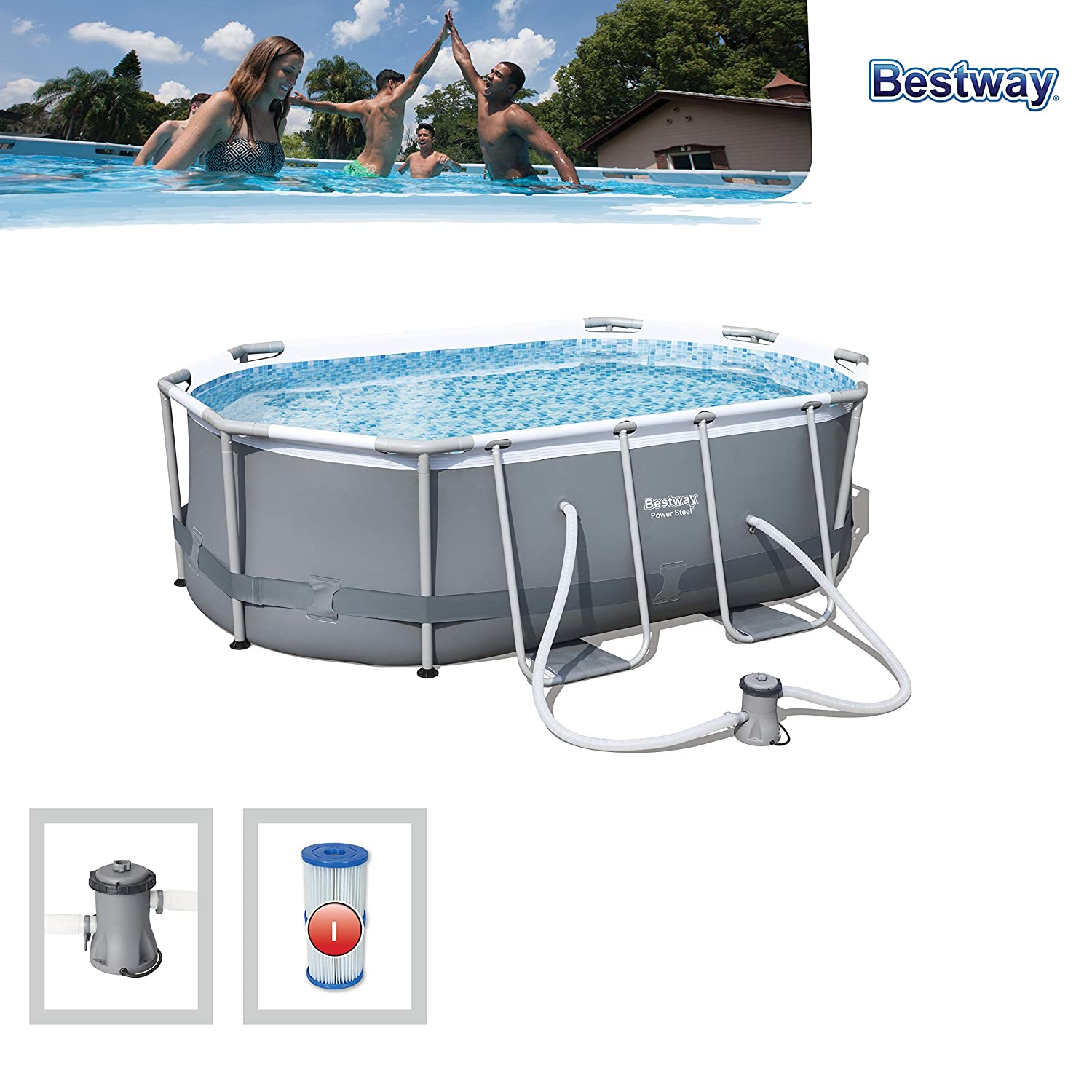 Bestway 56617 Piscina Power Steel Oval, 3.668 litros, M: Amazon.es: Jardín